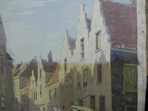 Partial cleaning on a 20th Century Dutch Town Scene