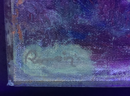Renoir signature examined under ultra violet light, the fluorescing area is old varnish. We cleaned around the signature.