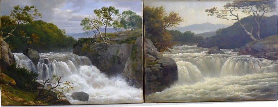 A pair of Victorian oil paintings, one cleaned the other not.