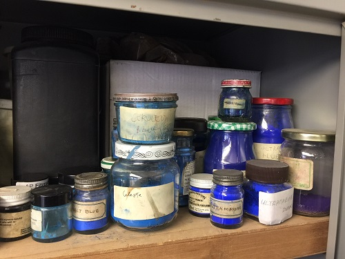 One of several cabinets full of pigments and other conservation and restoration products