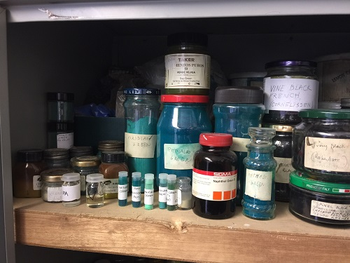 Another of several cabinets full of pigments and other conservation and restoration products